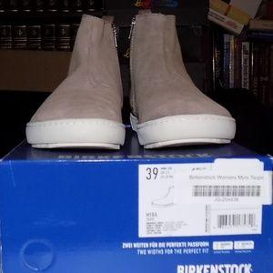 NEW Birkenstock Myra taupe suede leather EU39 c/d